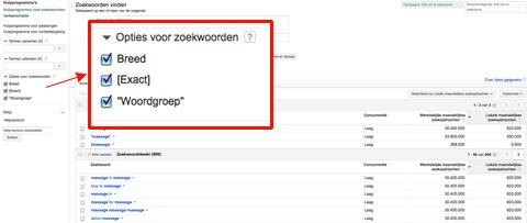 adwords keyword tool zoekwoord opties