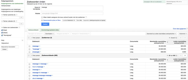 adwords keyword tool zoekresultaat