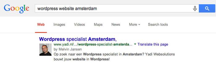 google zoekresultaat