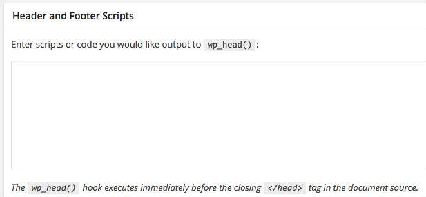 wordpress header script