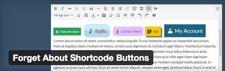 wordpress plugin forget about shortcodes buttons