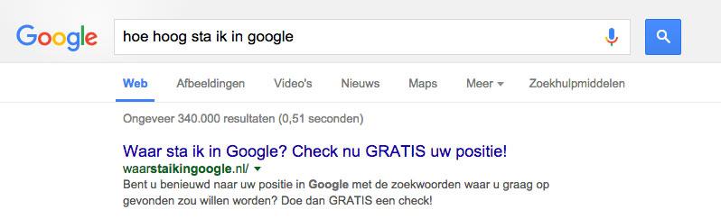 hoe hoog sta ik in google