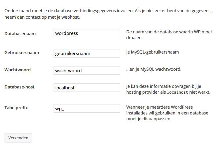 wordpress installatie gegevens