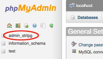 phpmyadmin database selecteren