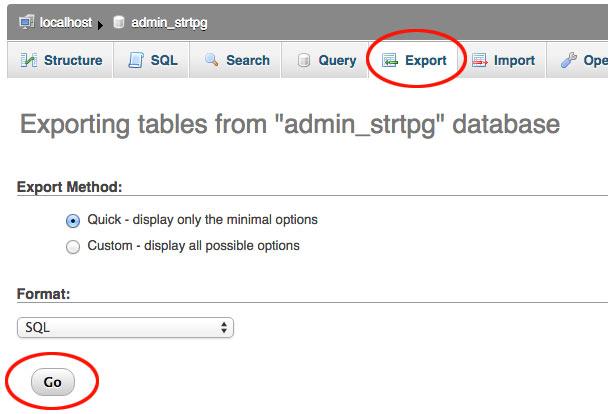 phpmyadmin database exporteren