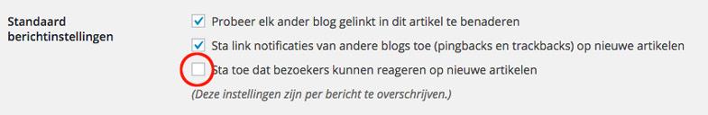 WordPress reacties uitzetten