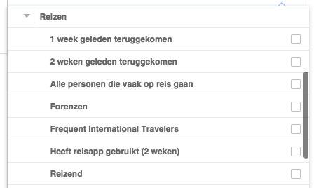 facebook doelgroep reizen