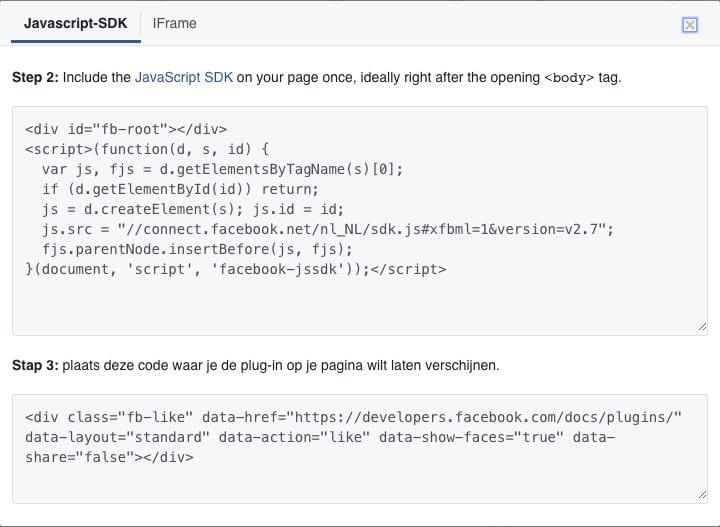 Facebook like button code
