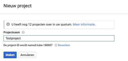 google api projectnaam kiezen