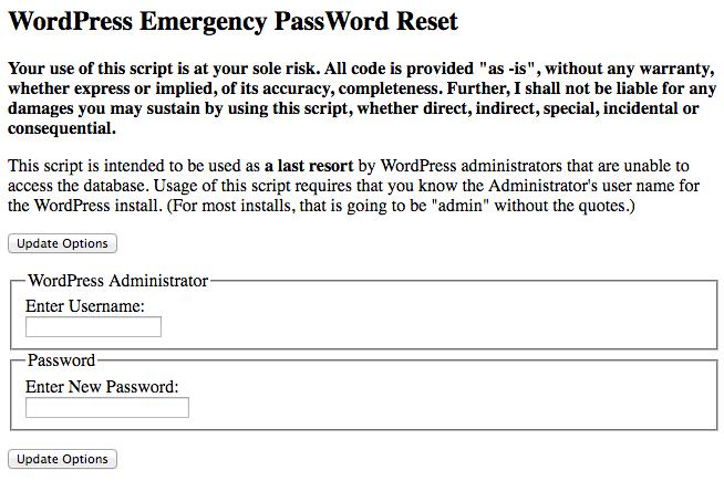 wordpress emergency password reset script