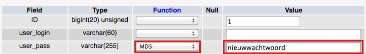 wordpress phpmyadmin nieuw wachtwoord
