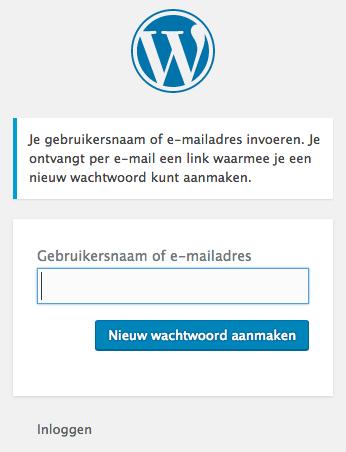 nieuw wordpress wachtwoord opvragen