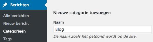 nieuwe wordpress categorie toevoegen