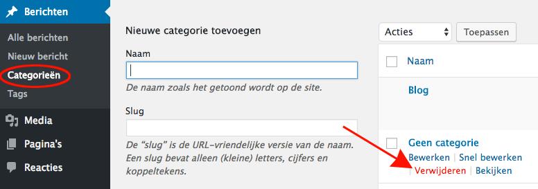wordpress categorie verwijderen