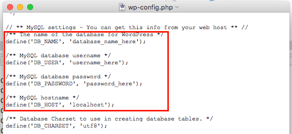 wordpress database credentials
